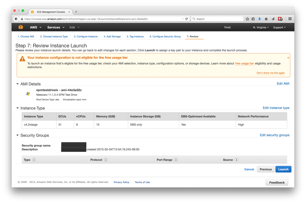Review Instance Launch
